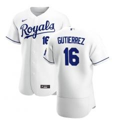Men Kansas City Royals 16 Kelvin Gutierrez Men Nike White Home 2020 Flex Base Player MLB Jersey
