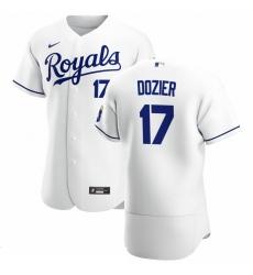 Men Kansas City Royals 17 Hunter Dozier Men Nike White Home 2020 Flex Base Player MLB Jersey