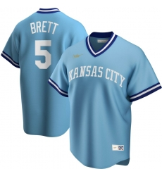 Men Kansas City Royals 5 George Brett Nike Road Cooperstown Collection Player MLB Jersey Light Blue