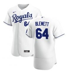 Men Kansas City Royals 64 Scott Blewett Men Nike White Home 2020 Flex Base Player MLB Jersey