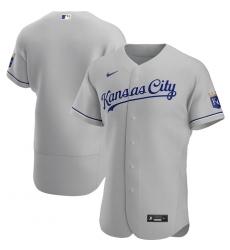 Men Kansas City Royals Men Nike Gray Road 2020 Flex Base MLB Jersey