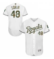 Mens Majestic Kansas City Royals 48 Joakim Soria Authentic White 2016 Memorial Day Fashion Flex Base Jersey