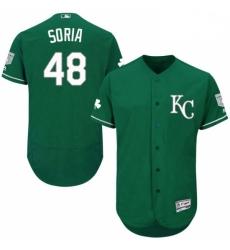 Mens Majestic Kansas City Royals 48 Joakim Soria Green Celtic Flexbase Authentic Collection MLB Jersey