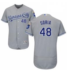Mens Majestic Kansas City Royals 48 Joakim Soria Grey Road Flex Base Authentic Collection MLB Jersey