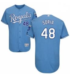 Mens Majestic Kansas City Royals 48 Joakim Soria Light Blue Alternate Flex Base Collection 2018 World Series Jersey