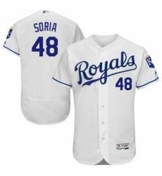 Mens Majestic Kansas City Royals 48 Joakim Soria White Flexbase Authentic Collection MLB Jersey