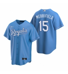 Mens Nike Kansas City Royals 15 Whit Merrifield Light Blue Alternate Stitched Baseball Jersey