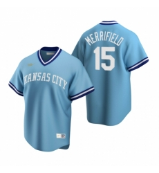 Mens Nike Kansas City Royals 15 Whit Merrifield Light Blue Cooperstown Collection Road Stitched Baseball Jersey
