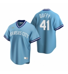 Mens Nike Kansas City Royals 41 Danny Duffy Light Blue Cooperstown Collection Road Stitched Baseball Jerse