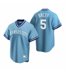 Mens Nike Kansas City Royals 5 George Brett Light Blue Cooperstown Collection Road Stitched Baseball Jerse