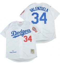 Los Angeles Dodgers 34 Fernando Valenzuela White 1981 Cooperstown Collection Jersey
