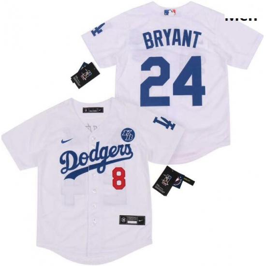 Men Dodgers Front 8 Back 24 Kobe Bryant White Cool Base Stitched MLB Jersey