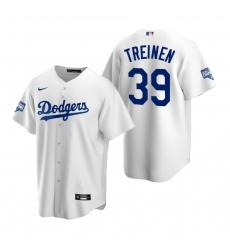 Men Los Angeles Dodgers 39 Blake Treinen White 2020 World Series Champions Replica Jersey