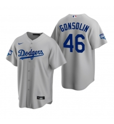 Men Los Angeles Dodgers 46 Tony Gonsolin Gray 2020 World Series Champions Replica Jersey