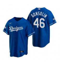 Men Los Angeles Dodgers 46 Tony Gonsolin Royal 2020 World Series Champions Replica Jersey