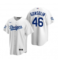 Men Los Angeles Dodgers 46 Tony Gonsolin White 2020 World Series Champions Replica Jersey