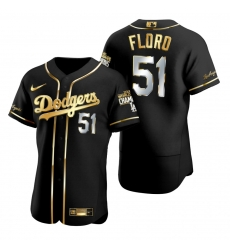 Men Los Angeles Dodgers 51 Dylan Floro Black 2020 World Series Champions Golden Limited Jersey