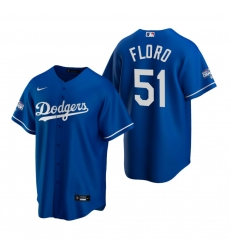 Men Los Angeles Dodgers 51 Dylan Floro Royal 2020 World Series Champions Replica Jersey