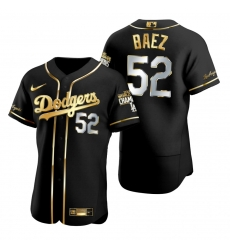 Men Los Angeles Dodgers 52 Pedro Baez Black 2020 World Series Champions Golden Limited Jersey