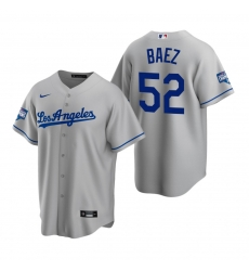 Men Los Angeles Dodgers 52 Pedro Baez Gray 2020 World Series Champions Replica Jersey