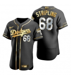 Men Los Angeles Dodgers 68 Ross Stripling Black 2020 World Series Champions Gold Edition Jersey