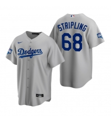 Men Los Angeles Dodgers 68 Ross Stripling Gray 2020 World Series Champions Replica Jersey