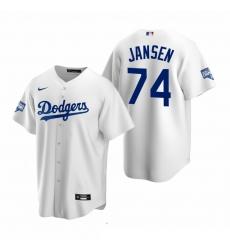 Men Los Angeles Dodgers 74 Kenley Jansen White 2020 World Series Champions Replica Jersey