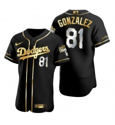 Men Los Angeles Dodgers 81 Victor Gonzalez Black 2020 World Series Champions Golden Limited Jersey