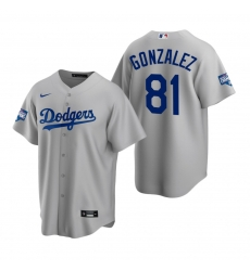 Men Los Angeles Dodgers 81 Victor Gonzalez Gray 2020 World Series Champions Jersey