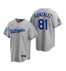 Men Los Angeles Dodgers 81 Victor Gonzalez Gray 2020 World Series Champions Replica Jersey