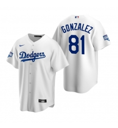 Men Los Angeles Dodgers 81 Victor Gonzalez White 2020 World Series Champions Replica Jersey