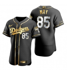 Men Los Angeles Dodgers 85 Dustin May Black 2020 World Series Champions Gold Edition Jersey