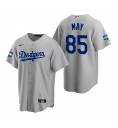 Men Los Angeles Dodgers 85 Dustin May Gray 2020 World Series Champions Replica Jersey
