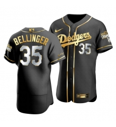 Men Los Angeles Dodgers Cody Bellinger 35 2020 World Series Champions Golden Limited Authentic Jersey Black