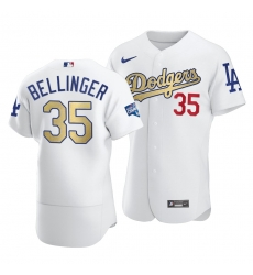 Men Los Angeles Dodgers Cody Bellinger 35 2021 Gold Program Patch Authentic Jersey White