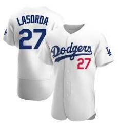 Men Los Angeles Dodgers Tommy Lasorda 27 White Flex Base Jersey