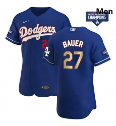 Men Los Angeles Dodgers Trevor Bauer 27 Gold Program Designed Edition Blue Flex Base Stitched Jersey
