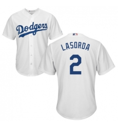 Men Los Angeles Tommy Lasorda White Cool Base Jersey