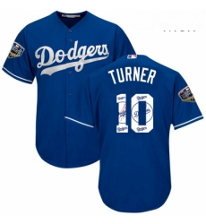 Mens Majestic Los Angeles Dodgers 10 Justin Turner Authentic Royal Blue Team Logo Fashion Cool Base 2018 World Series MLB Jersey