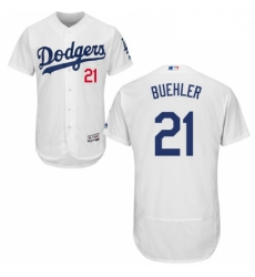 Mens Majestic Los Angeles Dodgers 21 Walker Buehler White Home Flex Base Authentic Collection MLB Jersey