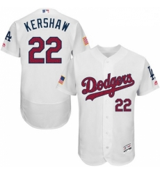 Mens Majestic Los Angeles Dodgers 22 Clayton Kershaw White Fashion Stars Stripes Flex Base MLB Jersey