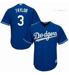Mens Majestic Los Angeles Dodgers 3 Chris Taylor Replica Royal Blue Alternate Cool Base MLB Jersey