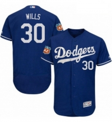 Mens Majestic Los Angeles Dodgers 30 Maury Wills Royal Blue Flexbase Authentic Collection MLB Jersey