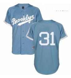 Mens Majestic Los Angeles Dodgers 31 Joc Pederson Authentic Light Blue Cooperstown MLB Jersey