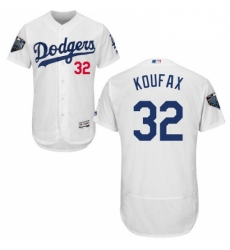 Mens Majestic Los Angeles Dodgers 32 Sandy Koufax White Home Flex Base Authentic Collection 2018 World Series Jersey