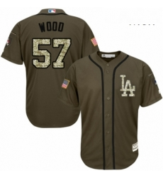 Mens Majestic Los Angeles Dodgers 57 Alex Wood Authentic Green Salute to Service MLB Jersey