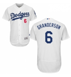 Mens Majestic Los Angeles Dodgers 6 Curtis Granderson White Flexbase Authentic Collection MLB Jersey