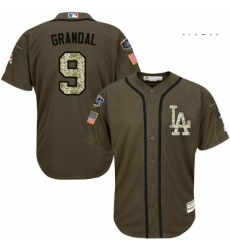 Mens Majestic Los Angeles Dodgers 9 Yasmani Grandal Authentic Green Salute to Service 2018 World Series MLB Jersey