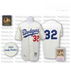 Mens Mitchell and Ness Los Angeles Dodgers 32 Sandy Koufax Replica White Throwback MLB Jersey