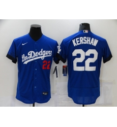 Men's Nike Los Angeles Dodgers #22 Clayton Kershaw Blue Elite City Player Jersey
